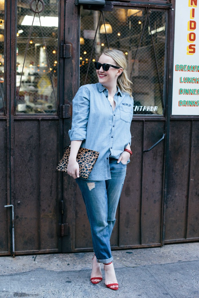 Meghan Donovan I wit and whimsy denim and red heels