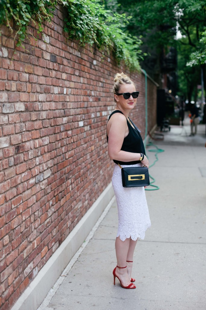 wit & whimsy I lace pencil skirt