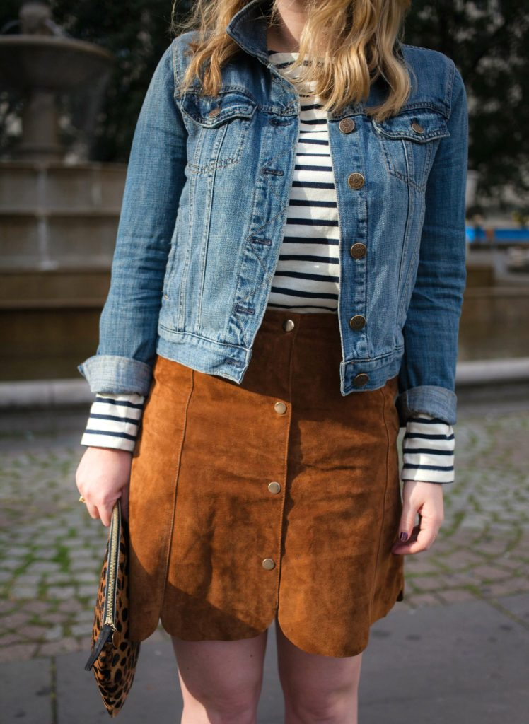 Striped Tee and Suede Skirt