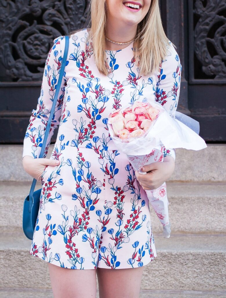 Springtime romper on Meghan Donovan of wit & whimsy