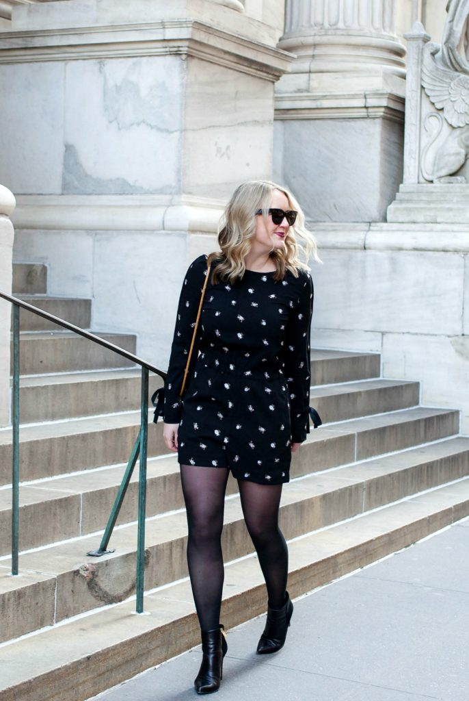 Meghan Donovan of wit & whimsy wears a Club Monaco romper
