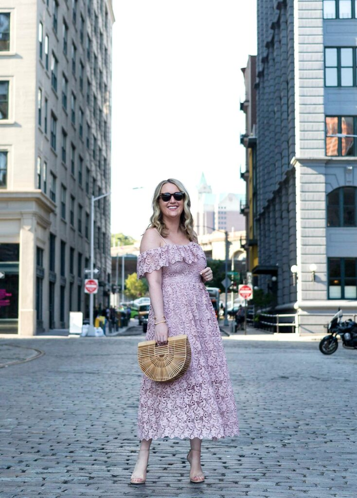 Meghan Donovan of wit & whimsy wears a lace midi dress
