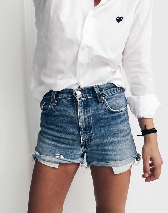 White Button Down I Jean Shorts