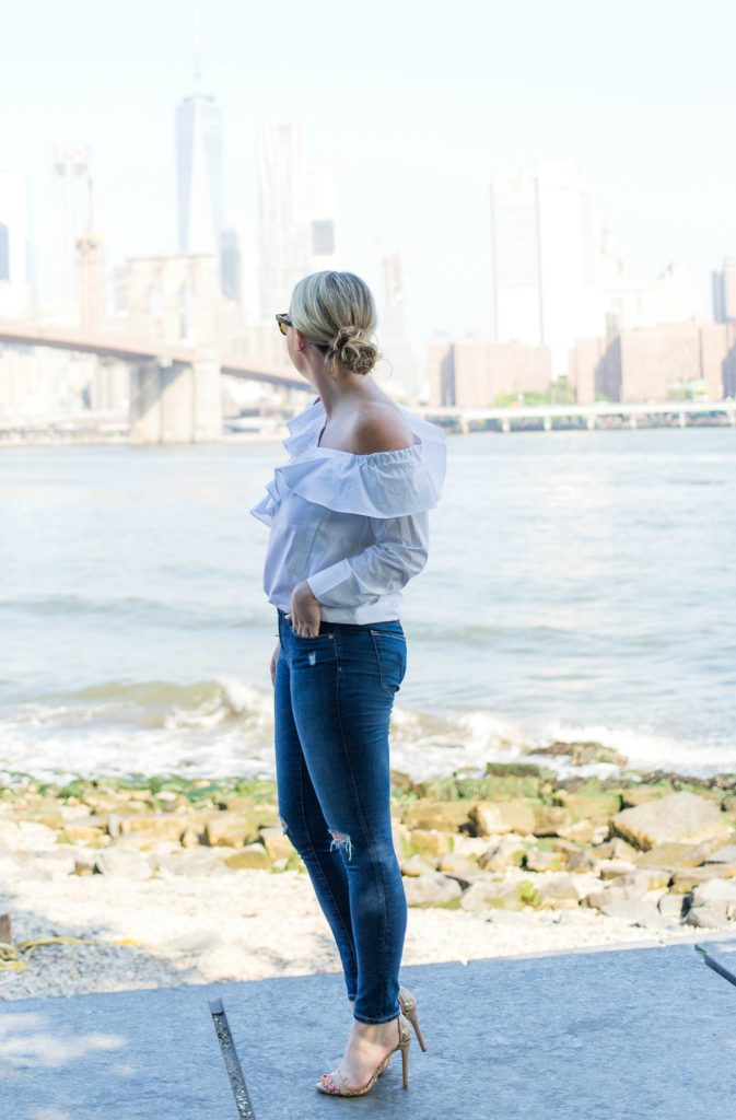 Meghan Donovan of wit & whimsy wears AG Denim and STYLEKEEPERS top