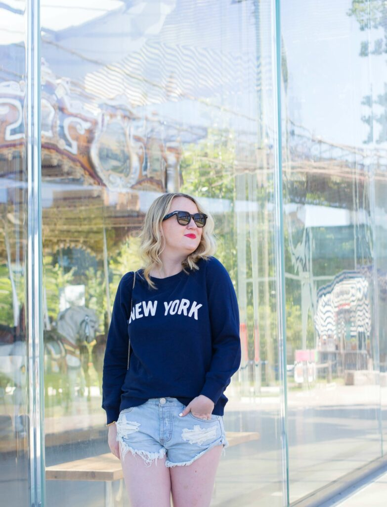Meghan Donovan of wit & whimsy wears J.Crew New York Sweatshirt