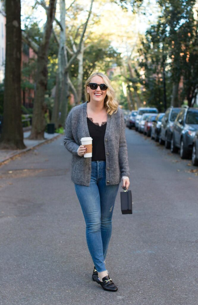 Boyfriend Cardigan with Lace Trimmed Sleeves