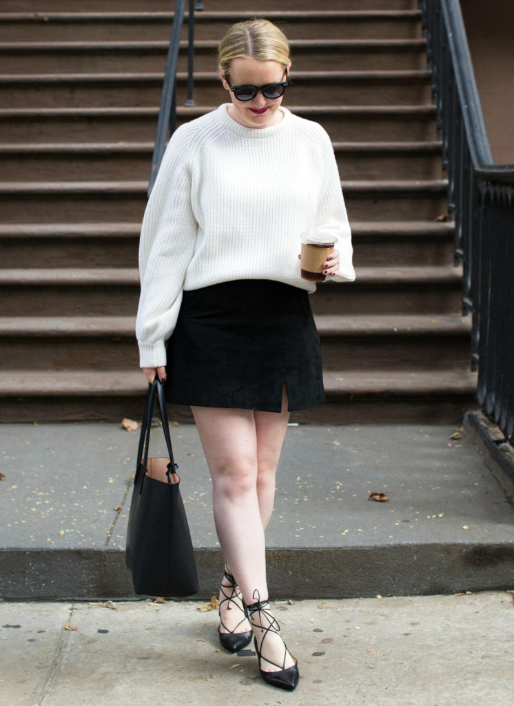 Oversized Sweater + Suede Skirt , wit \u0026 whimsy
