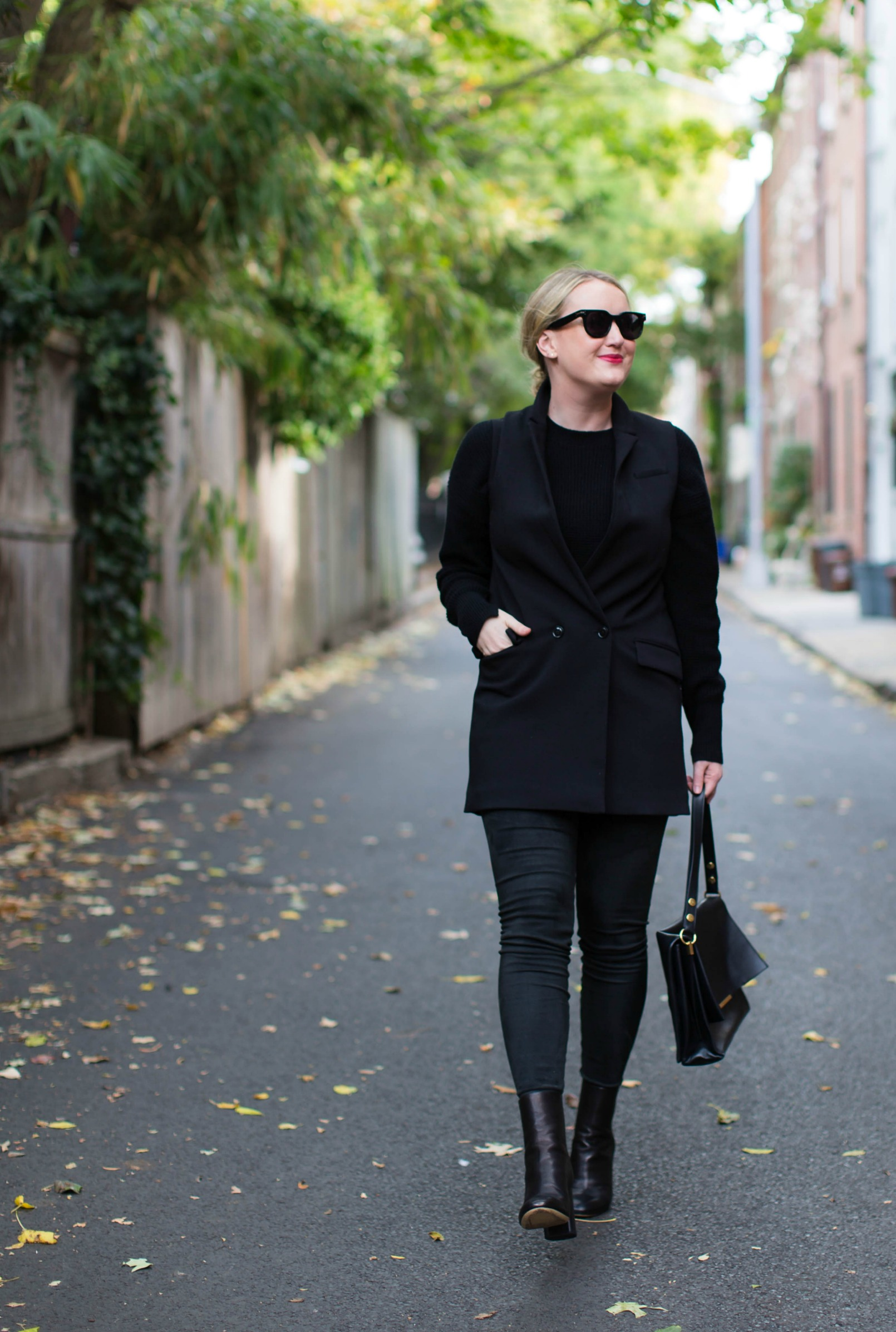 Meghan Donovan of wit & whimsy wears an all black look